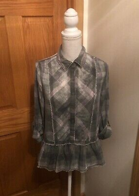 Paper Crane NWT Small Green Plaid w/Rolled Cuffs Button-Front Peplum Blouse