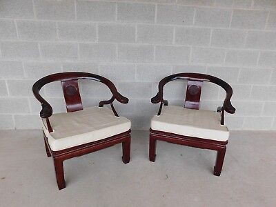 Vintage Chinese Ming Style Rosewood Arm Chairs - a Pair