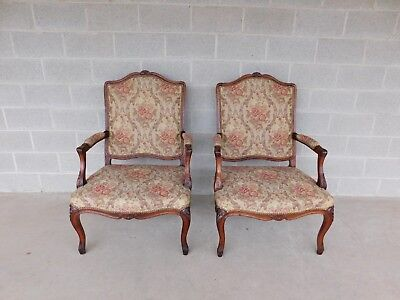Quality Vintage French Louis XV Style Fireside Accent Arm Chairs  - a Pair