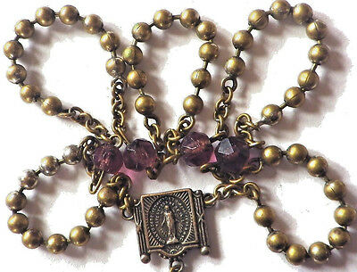 ⭐ Antique Rosary † Pull Chain Rosaries ☧ Pre Us Military Issue ✞ Brass Bead 1900
