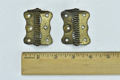 "Antique SET 2 METAL SPRING LOADED SCREEN DOOR HINGES 2"" X 1 5/8"" HARDWARE #07017"