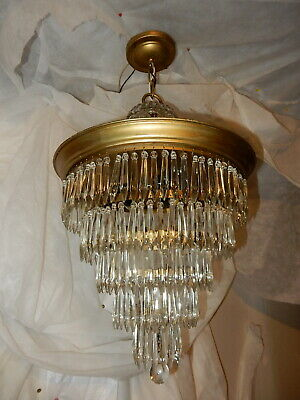 VINTAGE CRYSTAL CHANDELIER 5-TIER WEDDING CAKE CEILING LIGHT w/ OLD PRISMS