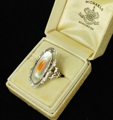 Antique Art Nouveau Deco Knuckle Ring Sterling Silver Abalone Blister Pearl 7.25