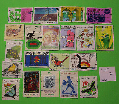 Vintage Bulk Lot 20 Australian Decimal Stamp Mixed Group Used 1970's - Lot11 419