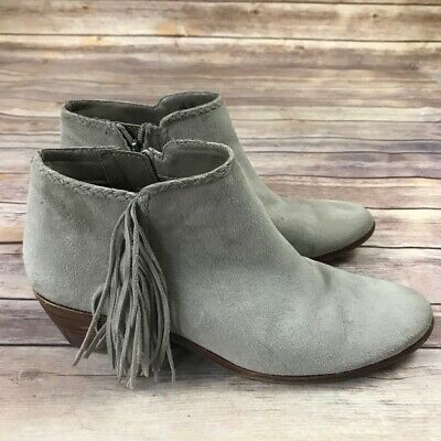 f2422f0b9093 SAM EDELMAN PAIGE Gray Fringed Suede BOHO Ankle Boots Size 8.5 ...