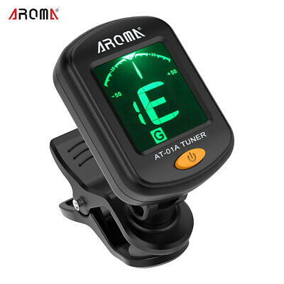AROMA Clip-On Tuner LCD Display For Chromatic Guitar Bass Ukulele Violin T8C4