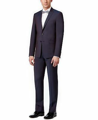 Calvin Klein NEW Blue Mens Size 38 Notch-Collar Two Button Wool Suit $650 123