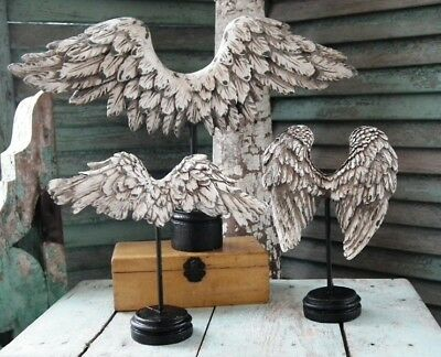 Gorgeous ~ SET of 3 ~ Sculpted & Aged ~WINGS ON PEDESTALS~ NIB and Unused!
