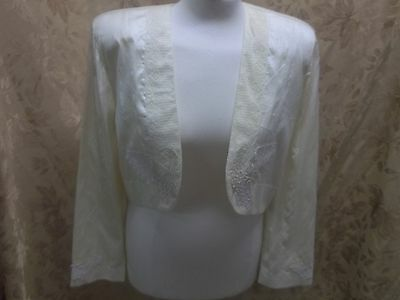 VINTAGE 80's LONG SLEEVE SILK EMBRODERED BOLERO JACKET
