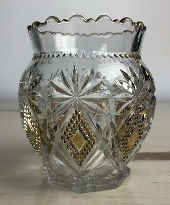Cut Glass Etched Pineapple Pattern Vase Vintage Gold Tone Pretty