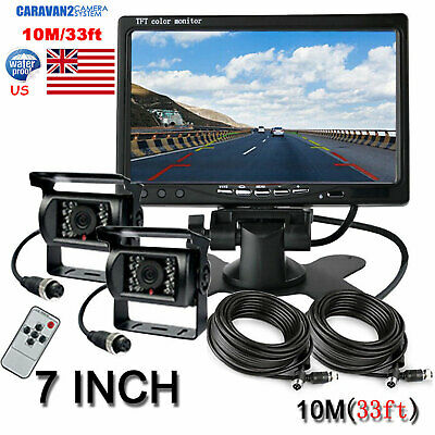 "7"" Quad Split Rear Side View Monitor+CCD 4PIN Backup Camera*2 Truck VAN Trailer"