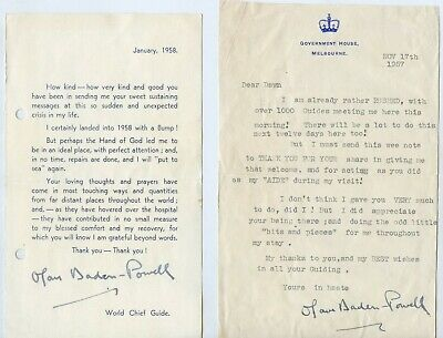 1957/58 SIGNED x4 CORRESPONDENCE FROM LADY BADEN POWELL GBE TO DAWN WATSON Y96