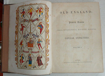Vintage Book 1854 Old England Pictorial Museum Vol 1 History Architecture Illus