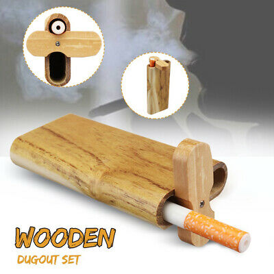 98x44mm Hand-make durable Swivel Cap Wood Dugout Pipe Set Gift for Smoker