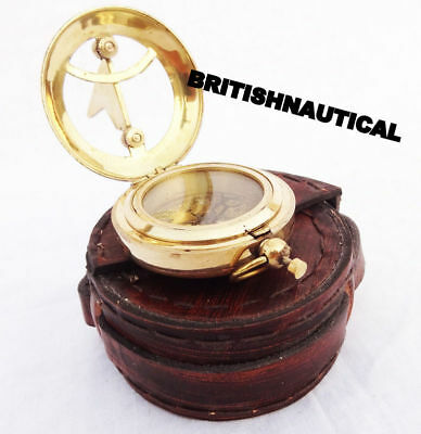 COLLECTIVE MARITIME ANTIQUE BRASS sundial  POCKET COMPASS LEATHER BOX