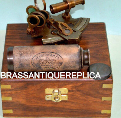 Collectible  Sextant Brass Telescope With Wooden Box Nautical Astrolabe Gift