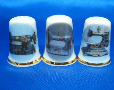 Birchcroft China Thimbles -- Set of Three -- Floral Sewing Machines