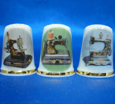 Birchcroft Thimbles -- Set of Three -- Art Deco Sewing Machines