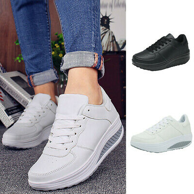 Fashion Women's Casual Lace Up Sports Running Sneakers Thick Bottom Shake Shoes