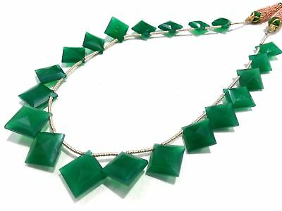 """11""""Inch Necklace Natural Green Onyx Cushion Faceted 10x10-13x13mm Gemstone Beads"""