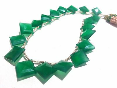 """9.5""""Inch Necklace Natural Green Onyx Cushion Faceted 10-14mm Gemstone Beads"""
