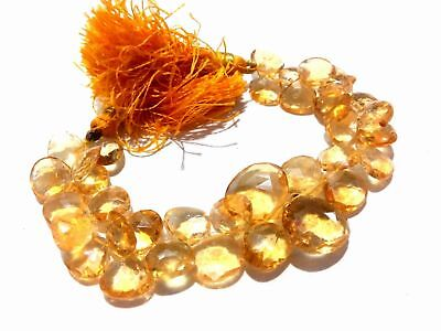 111Cts Natural Yellow Citrine Heart Briolette 9-15mm Faceted Gemstone Beads 6""