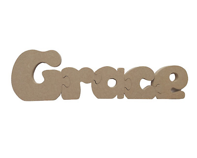 Personalised Childrens Name Jigsaw Unpainted - Wooden  - Boys and Girls Names