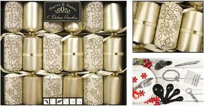 Festive Cream & Gold Deluxe Xmas Christmas Crackers 6 Pack