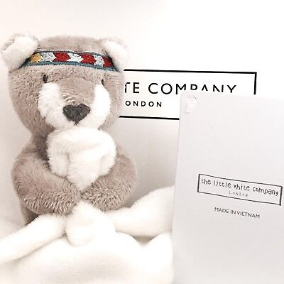 THE WHITE COMPANY Little Warrior Bear Comforter Soother Soft Toy ~ NEW ~ Blanket