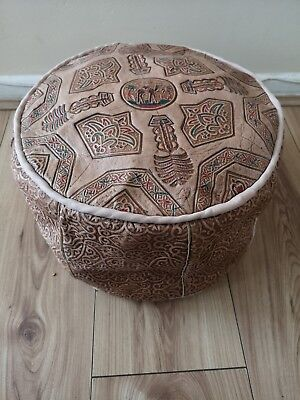 Small Genuine Leather Pouffe Moroccan Poufe Handmade New Footstool Berber