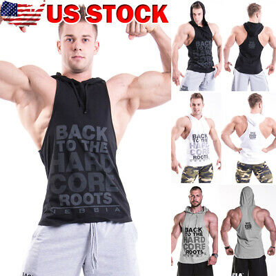 10199973a7e82 Hot Men Gym Clothing Stringer Hoodie Bodybuilding Tank Top Muscle Hooded  Shirt