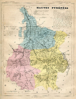 Genuine Original Antique 1877 France Hand Colored Map HAUTE PYRENEES French