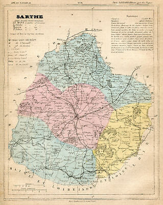 Genuine Original Antique 1877 French Hand Colored Map SARTHE French Europe