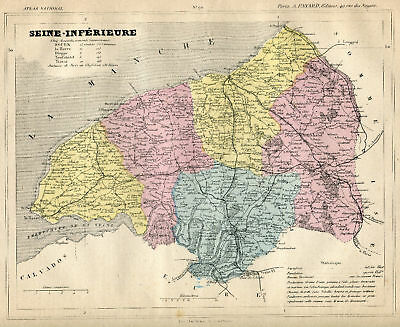 Genuine Original Antique 1877 French Hand Colored Map SEINE-INFERIEURE French