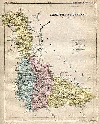 Genuine Original Antique 1877 France Hand Colored Map MEURTHE ET MOSELLE French