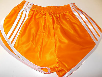 Retro Nylon Satin Sprinter Shorts S zu 4XL, Orange - Weiß
