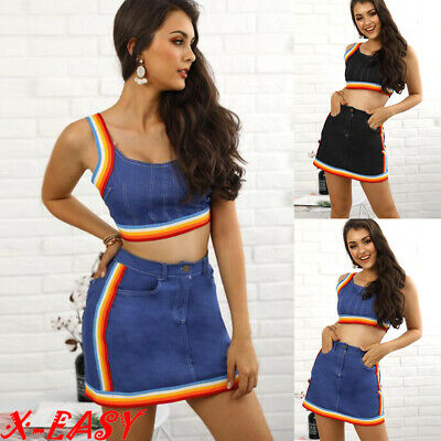 Sexy Womens Mini Denim Skirt Crop Top 2 Piece Set Dress Ladies Bodycon Co ord UK