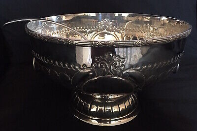 A Stunning Victorian Silver Plated Punch Bowl Complete with Ladle.