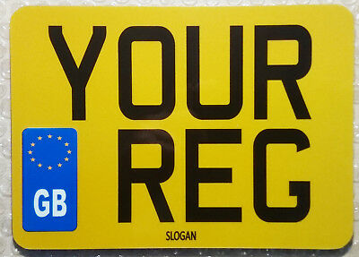 GB EU Novelty Small 8x6 Motorcycle Style Small Bike Number Show Plate - Reg