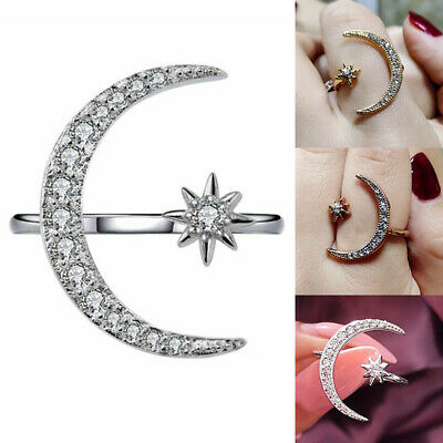 Women Crescent Moon and Star Adjustable Ring Jewelry Silver Rose  Gold Plated