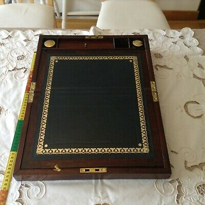 Smart Mahogany Antique writing slope -C19 - 2 ink bottles,  new skiver