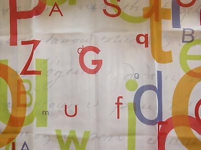 "Voile fabric remnant 90x73 cm (35x28"") coloured letters print"