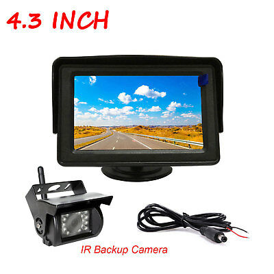 """4.3""""TFT LCD Monitor Car Rear View System Backup Wireless Camera For Truck Bus RV"""