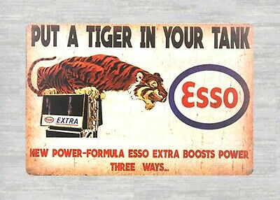 US Seller-fancy wall hanging Esso put a tiger in your tank gas tin metal sign