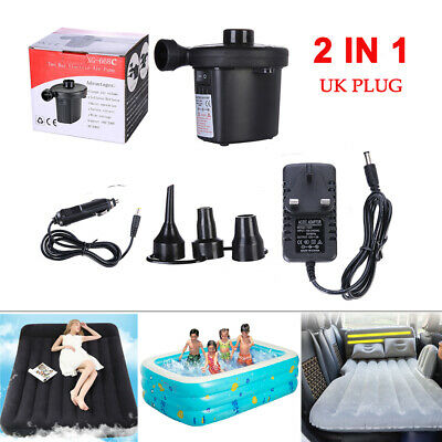 Electric Air Pump Inflator for Inflatables Camping Bed pool 240V 12V Car home