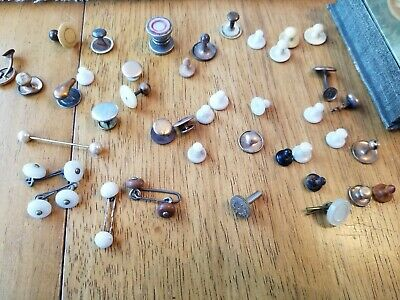 Mens Vintage Junk Drawer Jewelry Lot, Tie bar, Button Covers