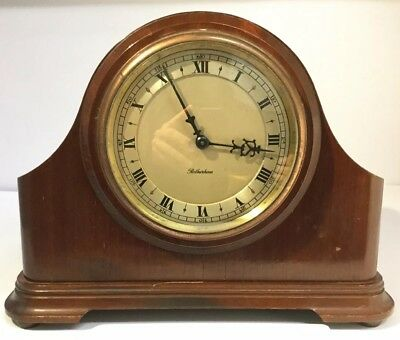 Vintage English Made ROTHERHAM Mechanical Wood Cased Mantle Clock, Runs, A08274