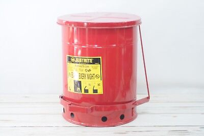 New Never Used Justrite Oily Rag Waste Can Garage Waste Receptacle 10 Gallon