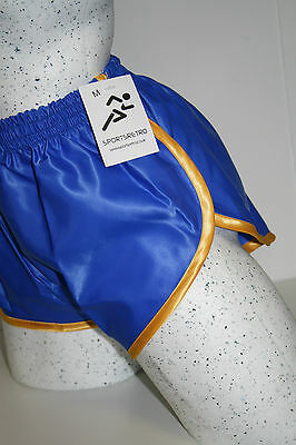 Retro Nylon Satin Sprinter Shorts S zu 4XL, Königsblau - Goldrand