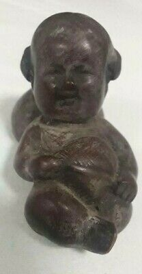 "Asian NETSUKE of boxwood carving of Baby Statue with signature 3""L by 2""H"